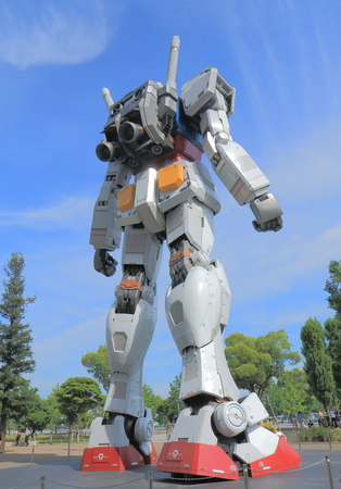 Tokyo Japan - May 22, 2015: Gundam statue in Odaiba. Gundam is a Japanese robot action animation series.