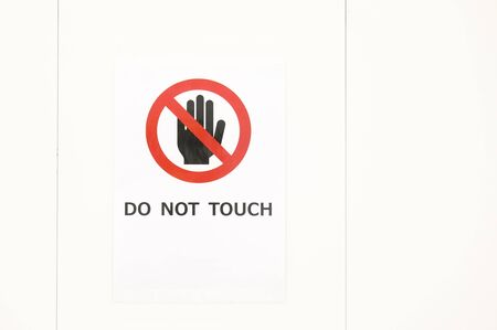 Photo for Do not touch sign in white background - Royalty Free Image