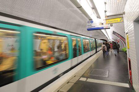 Photo pour Paris France - May 24, 2019: People travel by subway in Paris France - image libre de droit