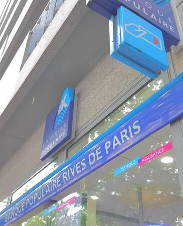 Paris France - May 25, 2019: Banque Populaire Rives de Paris bank Paris France