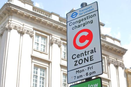 Photo for Congestion charge point sign London UK - Royalty Free Image