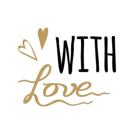 Illustration pour Vector hand drawn sign With Love lettering design element. Handmade calligraphy. - image libre de droit