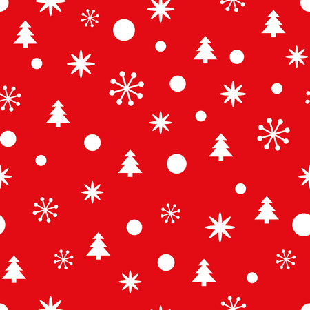 Ilustración de Red Christmas seamless pattern with small snowflakes, snow and Christmas trees. New Year background for wallpaper, fabric, textile, packaging, gift, template, banner, print. Winter vector illustration - Imagen libre de derechos