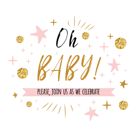Illustration for Ggentle Oh baby text with cute gold, pink colors for girl baby shower card invitation template Vector illustration. Banner for children birthday design, label, print, sign, symbol - Royalty Free Image