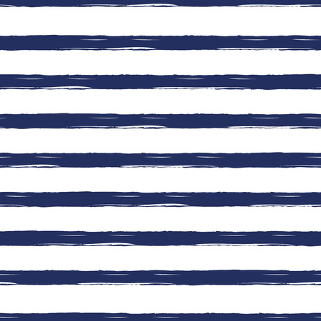 Illustration for Seamless nautical pattern with hand painted brush strokes, striped background. - Royalty Free Image