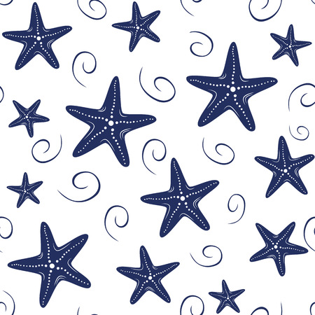 Illustration pour Seamless vector sea pattern with hand drawn sea stars, wave, drops in navy colors on white background - image libre de droit