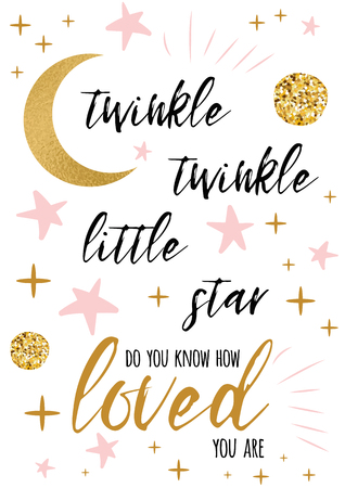 Illustration for Twinkle twinkle little star text with gold ornament and pink star for girl baby shower card background design template - Royalty Free Image