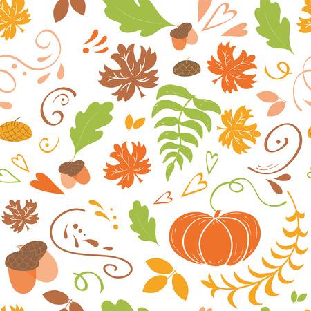 Illustration pour Autumn background. Seamless pattern of falling colorful maple leaves pumpkin - image libre de droit
