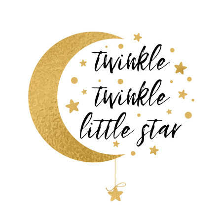 Illustration for Twinkle twinkle little star text with gold star and moon for baby shower card design template - Royalty Free Image