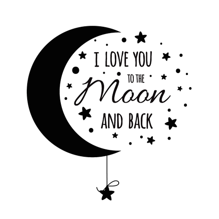 Illustration pour I love you to the moon and back. Handwritten inspirational phrase for your design black stars - image libre de droit