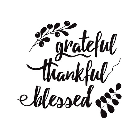 Illustration pour Grateful thankful blessed decorative vector lettering phrase decorated floral black autumn branch - image libre de droit