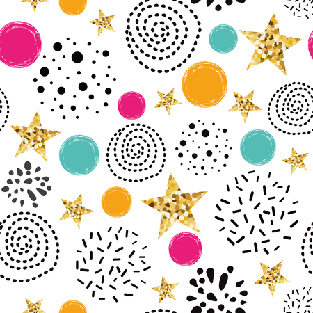 Illustration pour Doodle shape seamless pattern background Blue gold star Abstract gold glitter star seamless texture simple black circle card poster book fabric wrapping paper Gold glitter texture Vector illustration. - image libre de droit