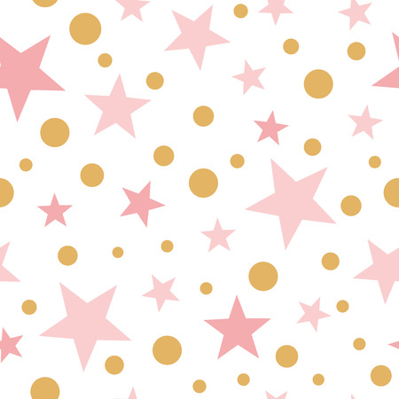 Foto de Vector pink seamless pattern gold stars pink backgound baby shower sweet pink wallpaper for baby girl - Imagen libre de derechos