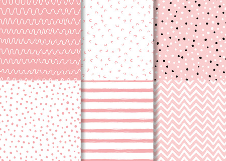 Illustration pour Set of simple pink seamless patterns Childish design Wallpaper for little baby girl Pink dotted background collection Vector illustration Hand drawn wrap fabric cloth textile naive pyjamas design. - image libre de droit