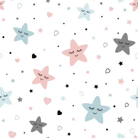 Illustration pour Seamless cute children pattern Cute baby stars heart background Creative night style kid light pink blue grey color texture for fabric wrapping textile background Children pyjamas Vector illustration. - image libre de droit