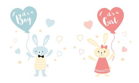 Illustration pour Its a boy its a girl Vector greeting card. Baby shower card. Baby announcement card design element rabbit ballon - image libre de droit