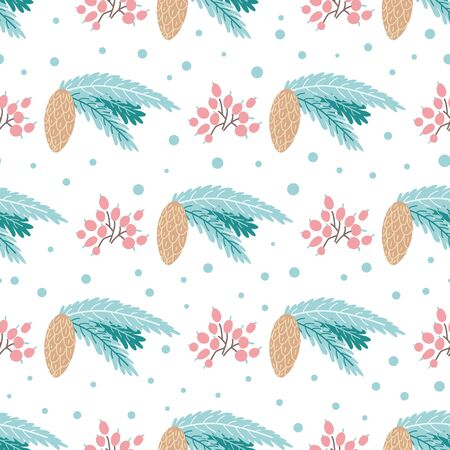 Illustration pour Winter pine pattern Fir cones seamless background Christmas plant pattern Cute hand drawn element Wallpaper Cartoon style Christmas tree blue branches, pink berry New Year design. - image libre de droit