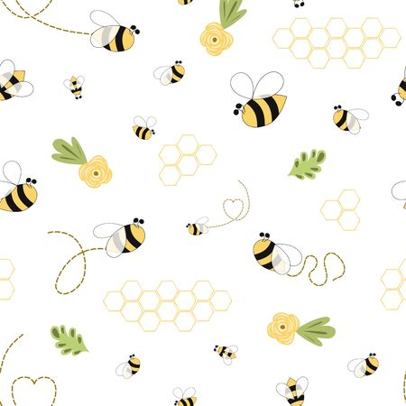 Illustration pour Bee honey pattern Bee floral yellow template Bee seamless pattern Cute honey background vector - image libre de droit