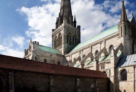 Chichester cathedral, christian church in Sussex England. historic religious architecture with tower and spire