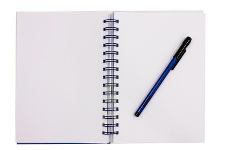 Clipping path this flie blue diary book on table office