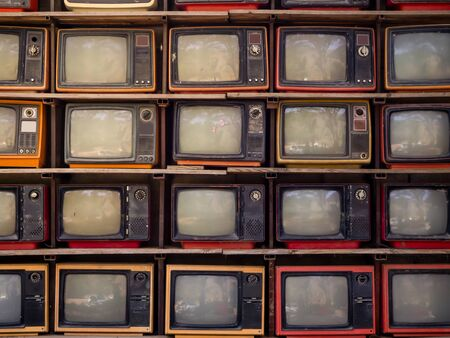 Photo for The Pattern wall of pile old retro TV bachground - Royalty Free Image