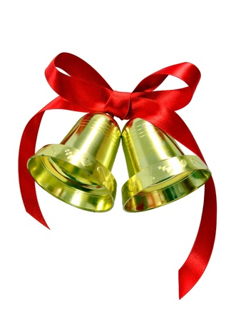Golden Christmas bells with red silk bow