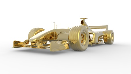 Gold race car in the Formula racing style