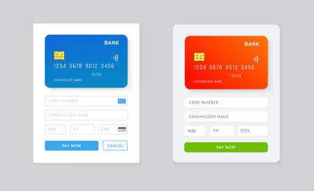 Illustration for Web Site or Phone app page with payment details ui design. UI, UX template for mobile application vector design. Online purchuse with credit card. - Royalty Free Image