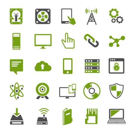 Illustration pour technology icons set Computer, Network devices and connections - image libre de droit