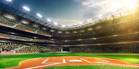 Photo pour Professional baseball grand arena in the sunlight - image libre de droit