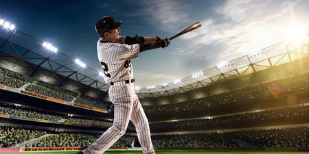 Photo pour Professional baseball player in action on grand arena - image libre de droit