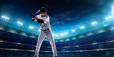Professional baseball players on the grand arena in nightの写真素材