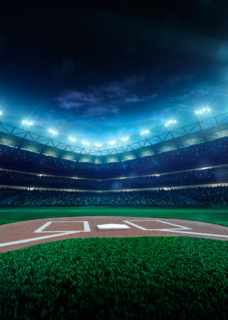 Photo pour Professional baseball grand arena in the night - image libre de droit
