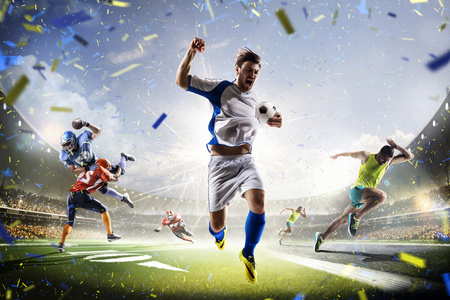 Photo pour Multi sports collage soccer american football and running on the grand arena - image libre de droit