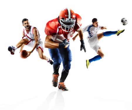 Multi sport collage soccer american football bascketball