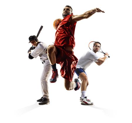 Multi sport collage baseball tennis bascketball