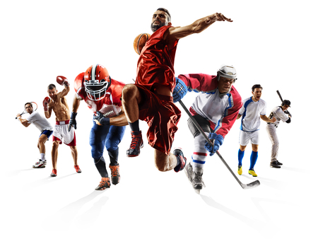 Sport collage boxing soccer american football basketball baseball ice hockey etc