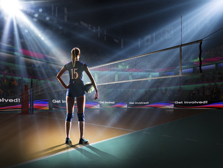 Foto per Female professional volleyball player on grand court - Immagine Royalty Free