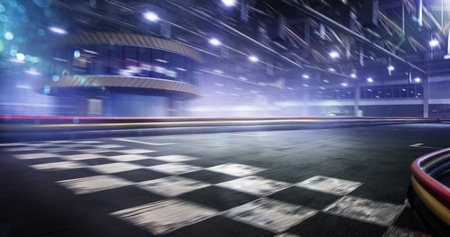 Foto de Cart race track finish line in motion background - Imagen libre de derechos