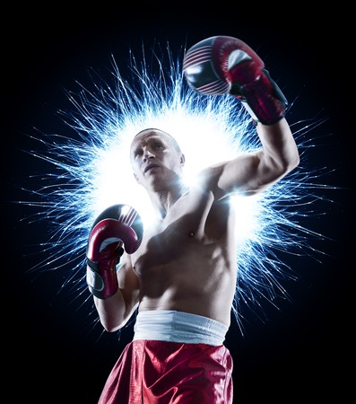 Photo pour professional boxer isolated in black background dark - image libre de droit