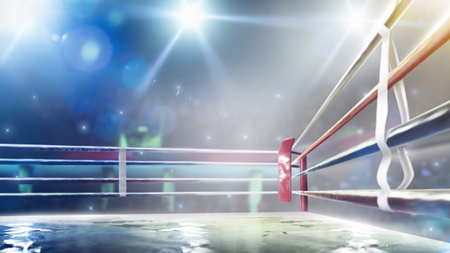 Photo pour International professional boxing ring in bright lights 3d render - image libre de droit