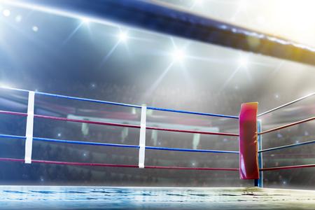 Foto de International professional boxing ring in bright lights 3d render - Imagen libre de derechos
