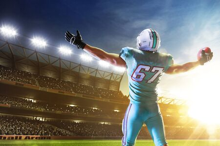 Photo for American football. American football player in professional sport arena. - Royalty Free Image
