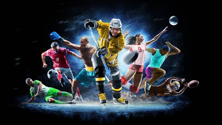 Photo pour Multi sport collage football boxing soccer voleyball ice hockey on black background - image libre de droit