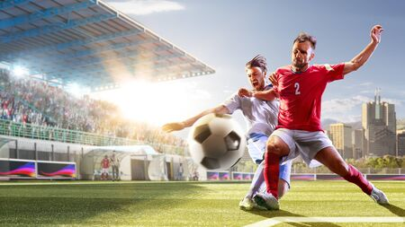 Photo for Soccer players in action on the day grand stadium background panorama - Royalty Free Image