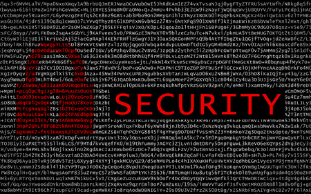 Photo pour Security text with red lock over encrypted text - cyber crime - image libre de droit