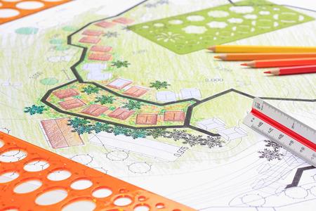 Photo pour Landscape architecture design garden plan for housing development - image libre de droit