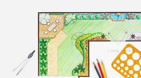 Photo pour Architecture student design project backyard garden and patio plan. - image libre de droit