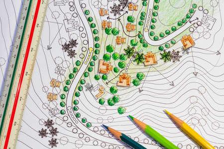 Photo pour Landscape architect designing on site analysis plan - image libre de droit