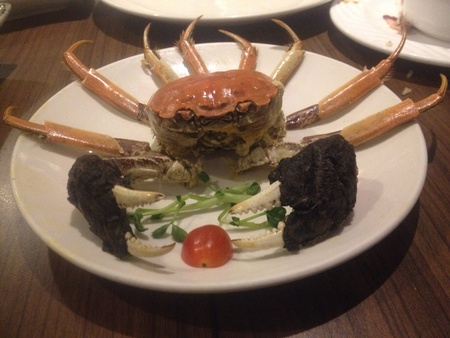 Hairy crab nicely cut at Drogon-I restaurant